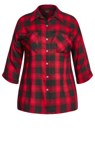 Boyfriend Plaid Shirt - red