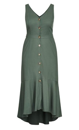Sweetie Button Maxi Dress - khaki
