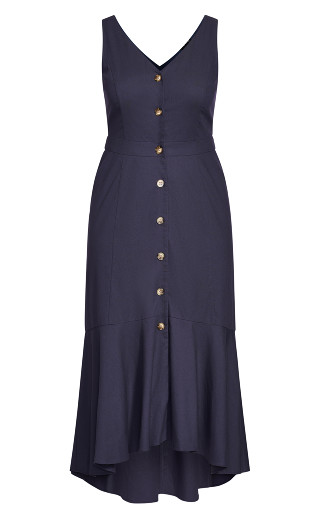 Sweetie Button Maxi Dress - navy