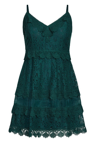 Nouveau Lace Dress - emerald