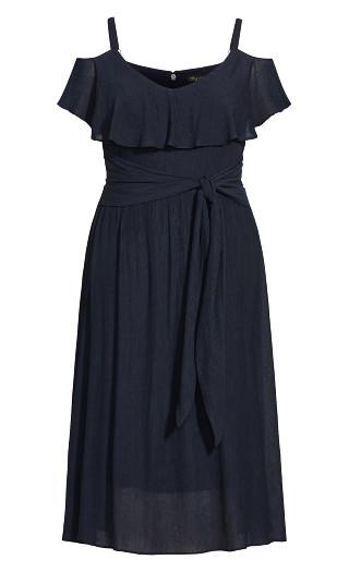 Romantic Tie Dress - navy