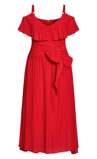 Romantic Tie Dress - red