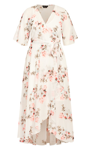 Wrap Lotus Maxi Dress - ivory