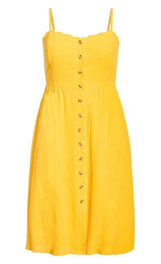Scallop Button Dress - sunshine