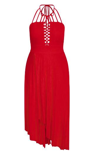 Plait Detail Maxi Dress - red