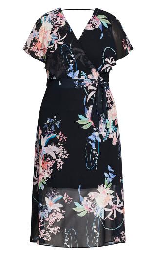Angel Wing Floral Dress - black