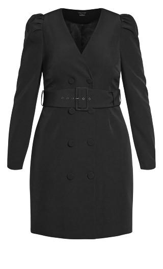 Belted Tux Dress - black