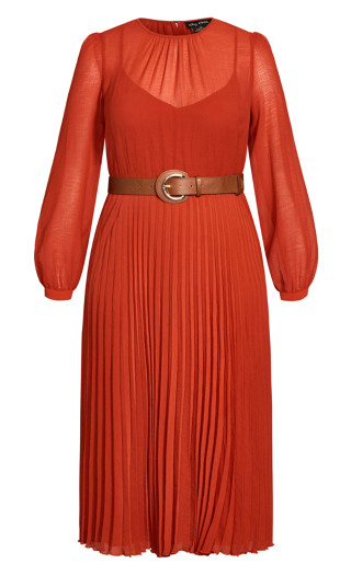 Love Pleat Dress - rust