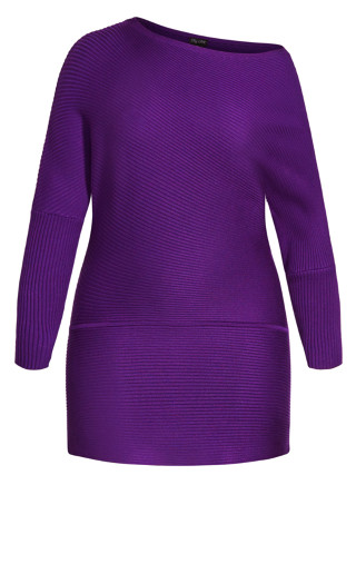 Fitted Rib Jumper - petunia