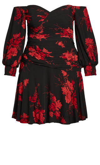 Crimson Garden Dress - black