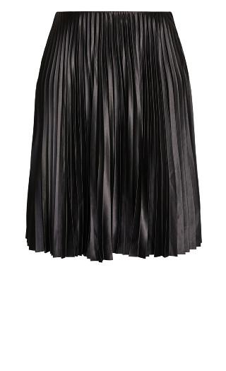 Satin Pleat Skirt - black