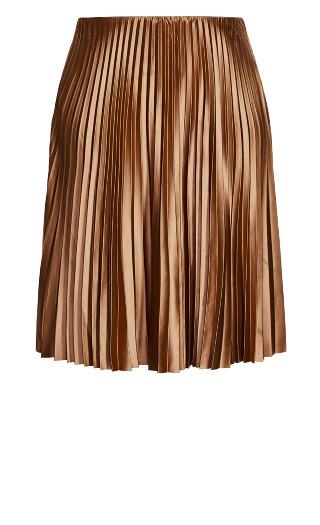 Satin Pleat Skirt - bronze