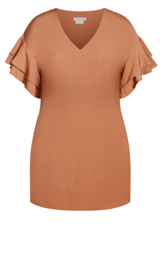 Double Frill Dress - gingerbread