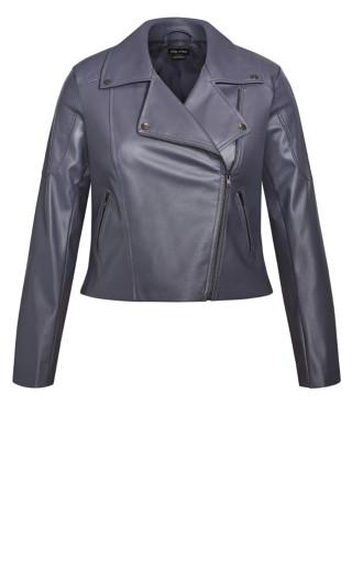Zip Biker Jacket - slate