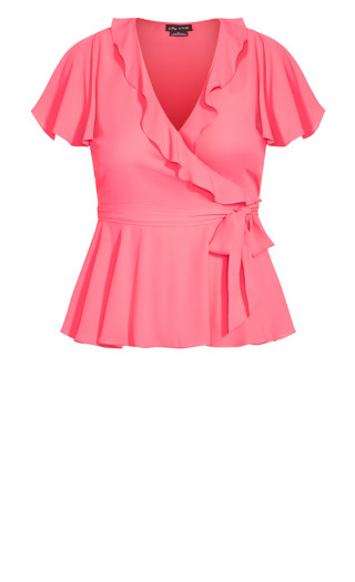 Wrap Frills Top - sugar