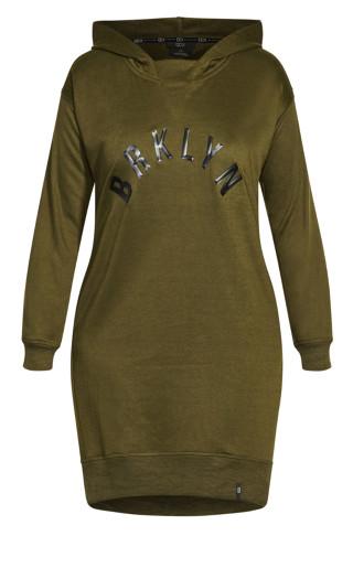 Luxe Hoodie Dress - dark khaki