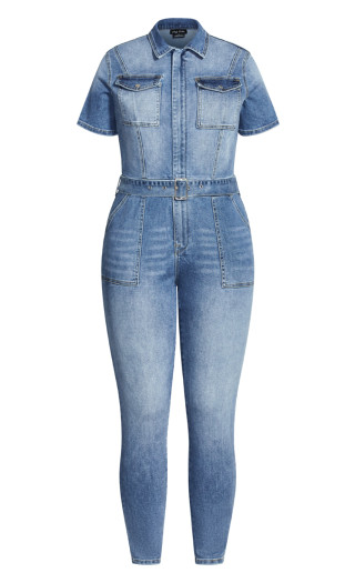 Denim Sleeved Jumpsuit - denim
