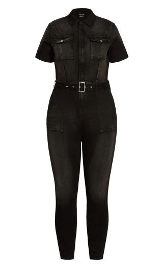 Denim Sleeve Jumpsuit - black