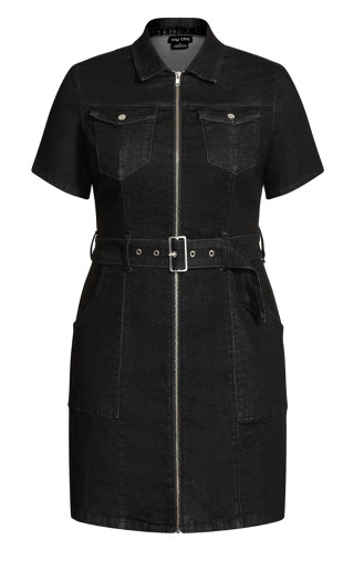 Utility Denim Dress - black