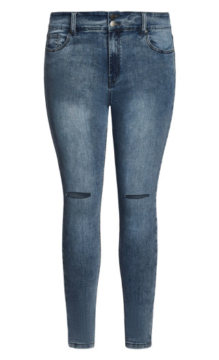 Asha Slash Skinny Jean - grey