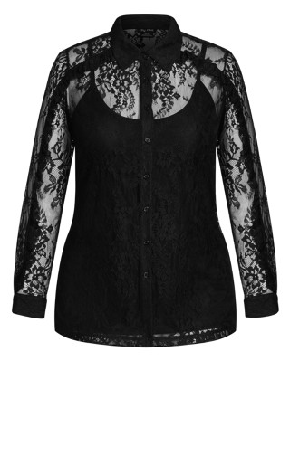 Ruffled Lace Top - black