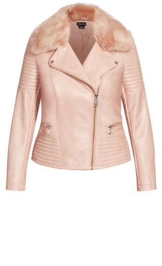 Faux Fur Biker Jacket - pink