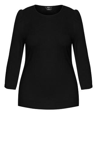Puff Sleeve Top - black