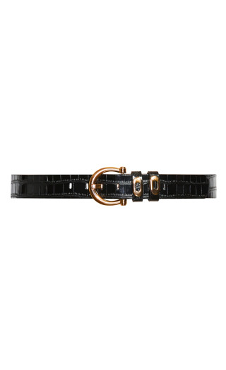 Golden Eyelet Belt - black