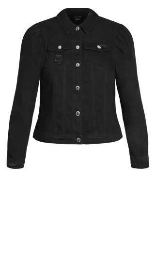 Denim Puff Jacket - black