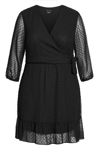 Dobby Ruffles Dress - black