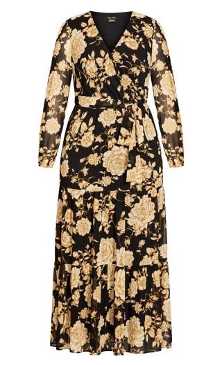 Luxe Floral Maxi Dress - caramel
