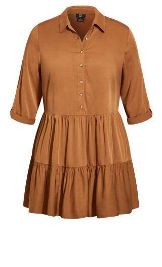 Tiered Shirt Dress - burnt caramel