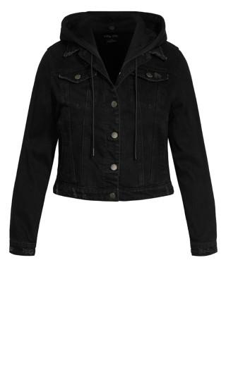 Denim Hood Jacket - black
