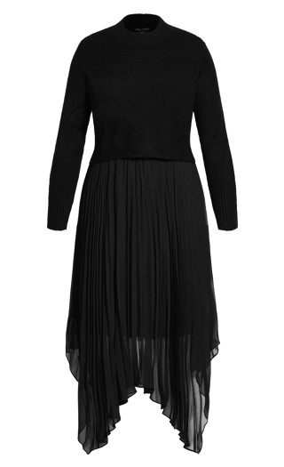 Pleated Crop Dress - black