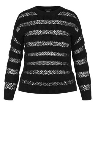 Striped Lace Jumper - black