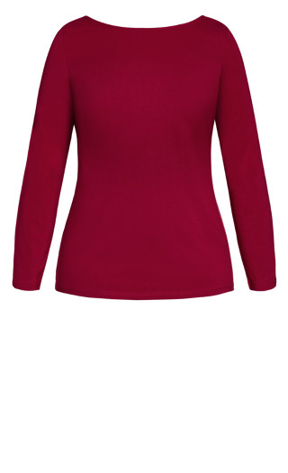 Scoop Neck Tee - ruby
