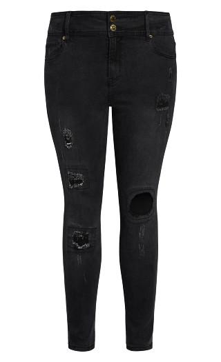 Asha Patched Apple Skinny Jean - black