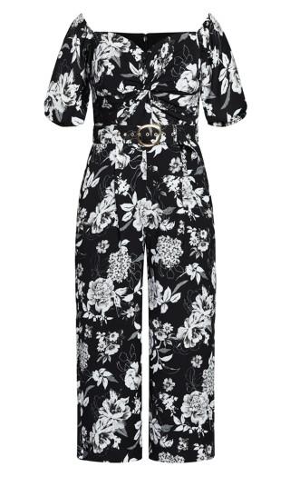 Mod Floral Jumpsuit - black