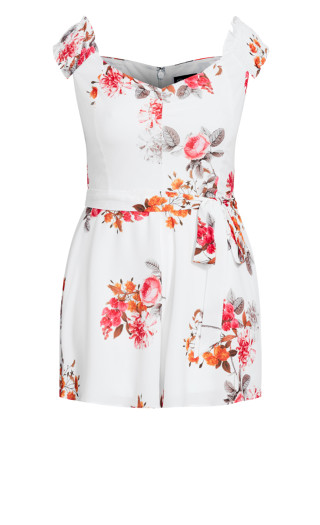 Floral Crush Playsuit - ivory