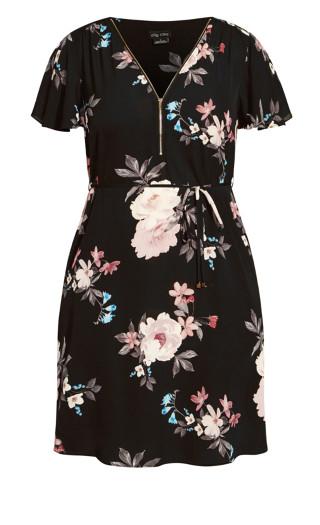 Precious Floral Dress - black