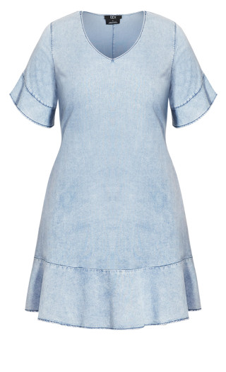 Denim Frill Dress - light denim