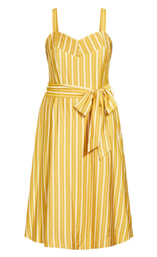 Sun Stripe Dress - mustard
