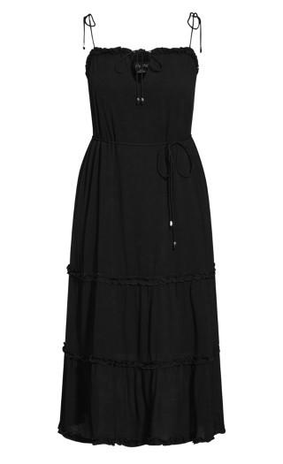Fine Frill Maxi Dress - black