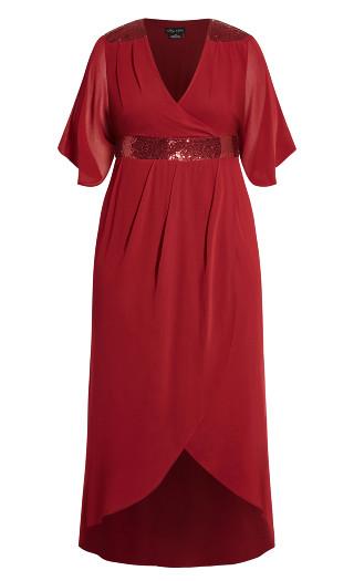Sequin Wrap Maxi Dress - ruby