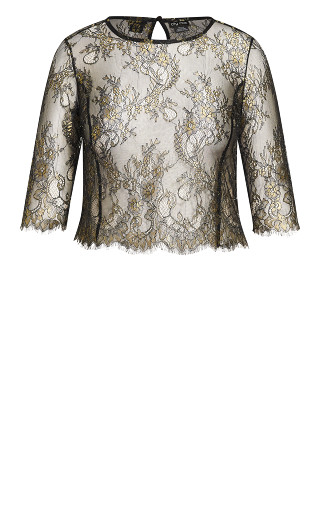 Stunning Lace Short Sleeve Top - bronze