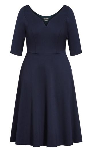 Cute Girl Elbow Sleeve Dress - navy