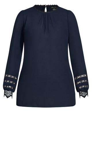 Lace Desire Shirt - navy