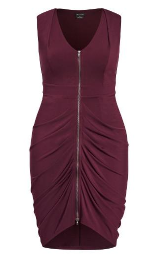Sexy Drape Dress - plum