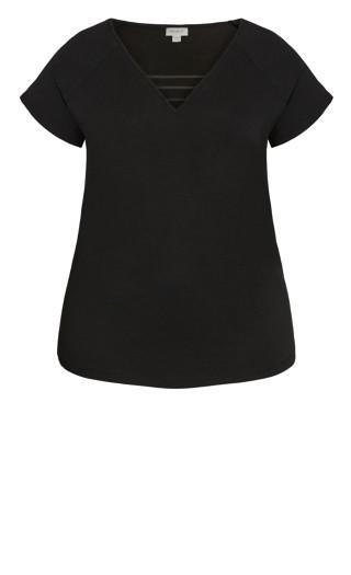 3 Bar V Neck Top - black