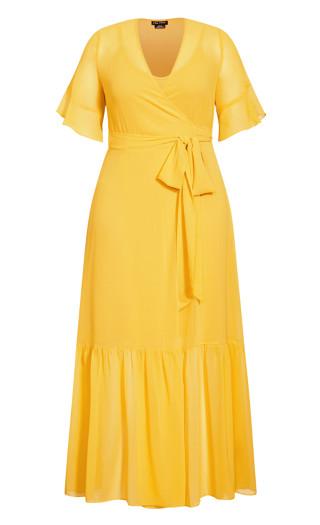 Flutter Wrap Maxi Dress - golden yellow